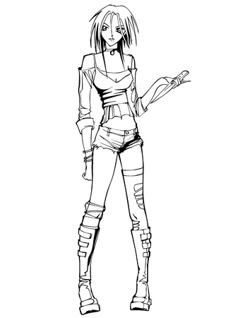 beautiful teenage girl: Beautiful teen-age girl with a knife. Black and white illustration. Illustration