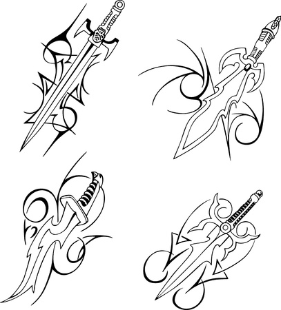 Tribal blade designs. Set of black and white illustrations. Vector