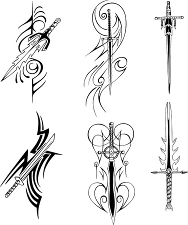 daggers: Tribal blade designs. Set of black and white illustrations. Illustration