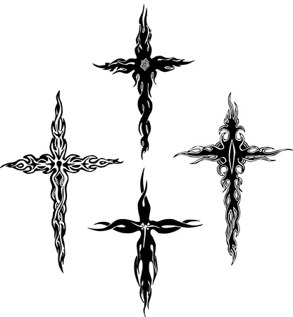 Tribal crosses. Set of black and white illustrations. Vector
