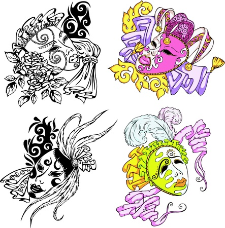 Venetian carnival masks. Set of color and blackwhite  illustrations. Vector
