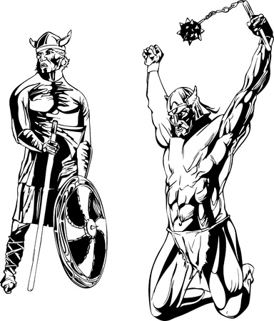 mace: Vikings. Set of black and white illustrations. Illustration