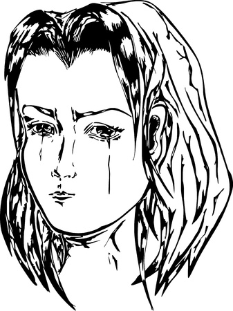 weeping: Crying girl. Black and white illustration. Illustration