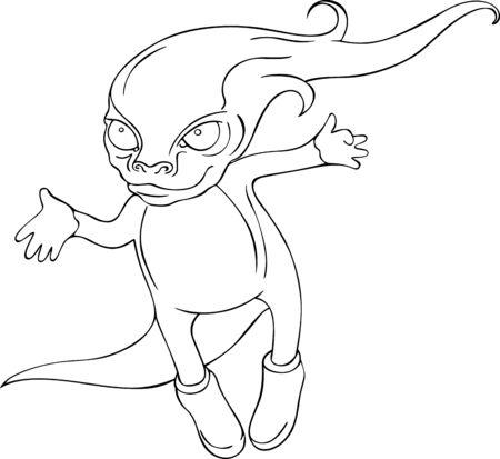fantastic creature: Flying fantastic creature  Black and white illustration