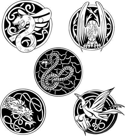 dragon tattoo: Set of round animal designs  Black and white  illustrations  Illustration