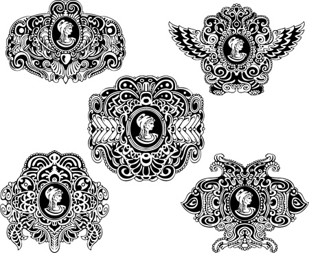 Set of decorative antique cameos with woman portrait in profile  Black and white illustrations  Vector