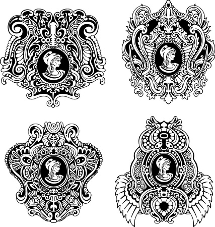 Set of decorative antique cameos with woman portrait in profile  Black and white illustrations Stock Vector - 13728594