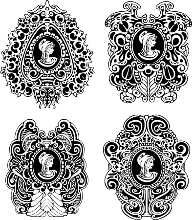 cameo: Set of decorative antique cameos with woman portrait in profile  Black and white illustrations  Illustration