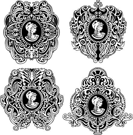 stile liberty: Set di cammei antichi decorativi con ritratto nelle illustrazioni profilo in bianco e nero