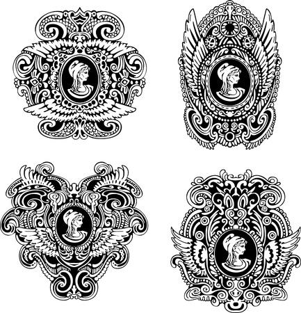 翼およびプロファイルの黒と白のイラストの女性の肖像画で装飾的な骨董品カメオの設定します。  イラスト・ベクター素材