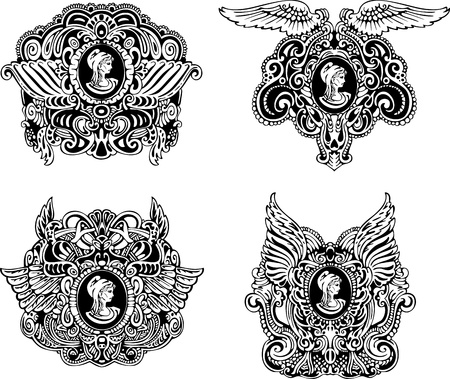 Set of decorative antique cameos with wings and woman portrait in profile  Black and white illustrations  Vector