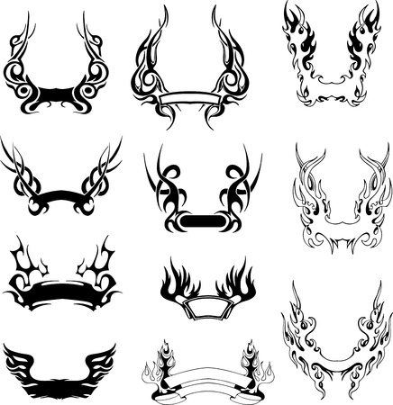 Set of simple tribal wreaths  Black and white illustrations  Illustration