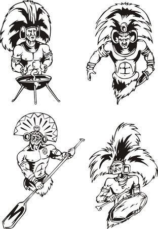 Los chamanes nativos indios americanos. Conjunto de ilustraciones vectoriales en blanco y negro. Foto de archivo - 13734779