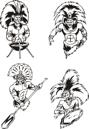 Native American Indian Shamans. Set of black and white vector illustrations. Vector