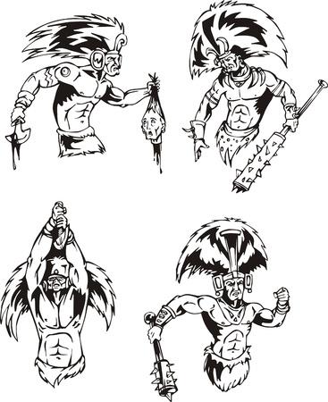 Los chamanes nativos indios americanos. Conjunto de ilustraciones vectoriales en blanco y negro. Foto de archivo - 13734781