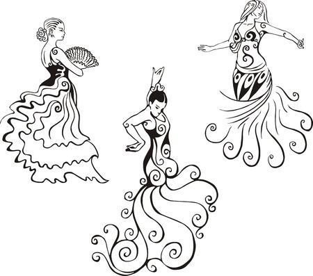 ヒスパニック系の女性が踊ります。黒と白のベクトル イラストのセットです。