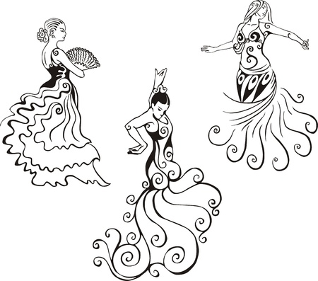 Women in hispanic dance. Set of black and white vector illustrations.