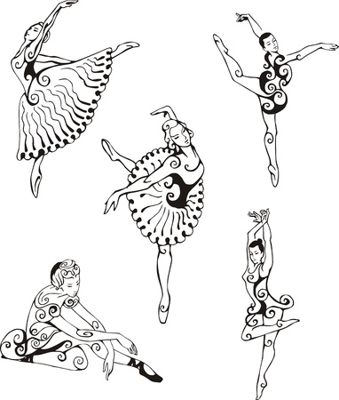 Dancing ballerinas. Set of black and white vector illustrations.