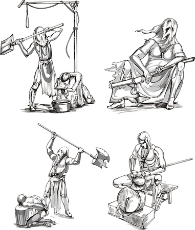 execution: Old-Time Executioner Sketches. Set of black and white vector illustrations.