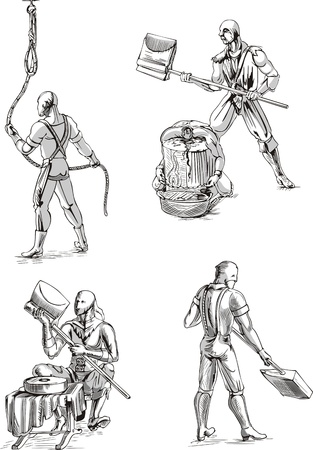 Old-Time Executioner Sketches. Set of black and white vector illustrations. Stock Vector - 13734787