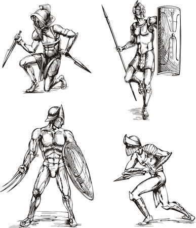 Ancient Roman Gladiators. Set of black and white vector sketch illustrations.