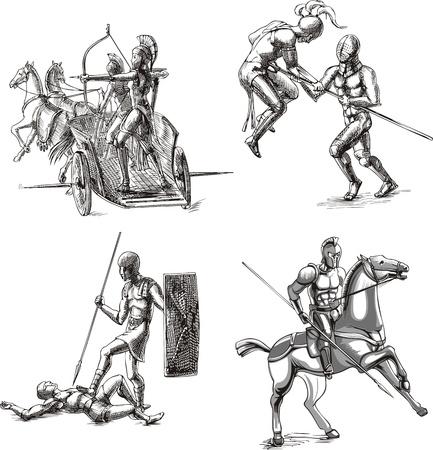 Ancient Roman Gladiators. Set of black and white vector sketch illustrations. Illustration