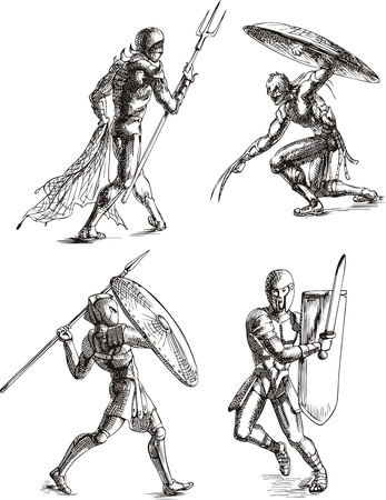 Ancient Roman Gladiators. Set of black and white vector sketch illustrations. Stock Vector - 13734794