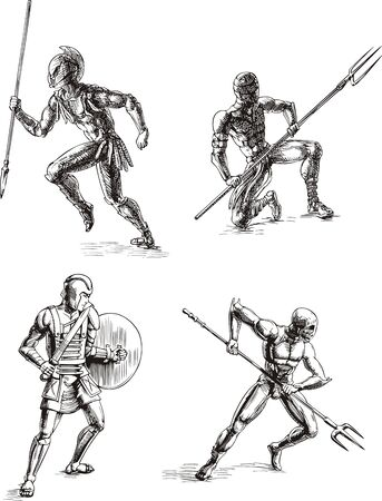 Ancient Roman Gladiators. Set of black and white vector sketch illustrations. Vector