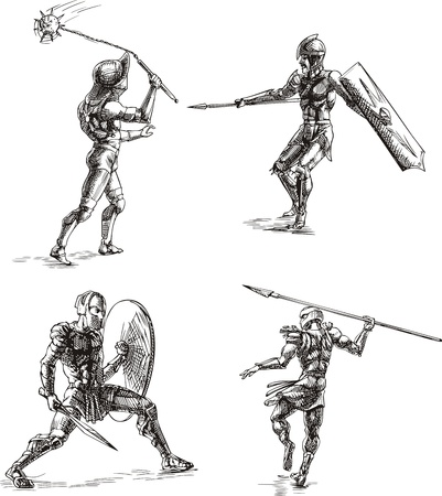 surviving: Ancient Roman Gladiators. Set of black and white vector sketch illustrations. Illustration