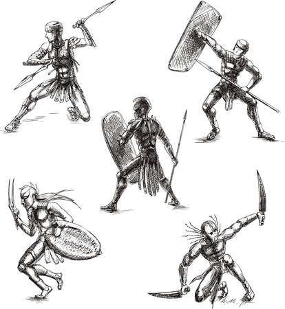 warriors: Ancient Roman Gladiators. Set of black and white vector sketch illustrations. Illustration