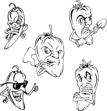 Hot peppers. Set of black and white vector cartoon illustrations.
