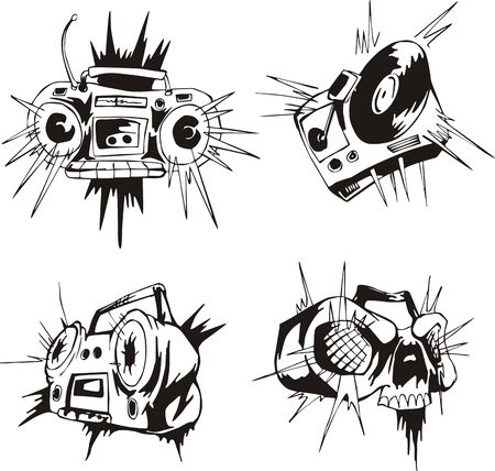 Comic tape recorders. Set of black and white vector illustrations. Illustration