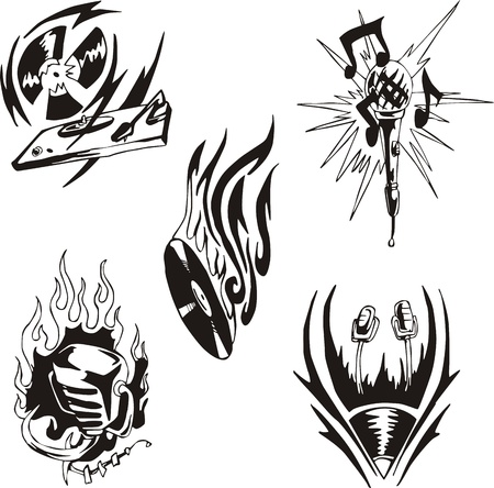 Music tattoos. Set of black and white vector illustrations. Vector