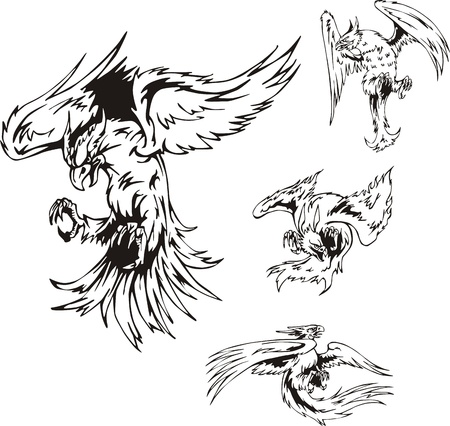 attacking: Predatory Bird Tattoos. Set of black and white vector illustrations.