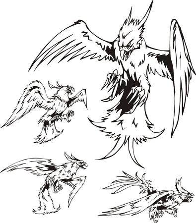 aggressive: Predatory Bird Tattoos. Set of black and white vector illustrations.