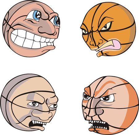 Funny Basketballs. Set of Color  Stock Vector - 14015290