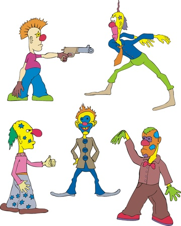 buffoon: Funny Clowns. Set of Color  Illustration
