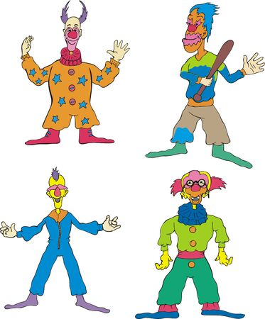tomfool: Funny Clowns. Set of Color  Illustration