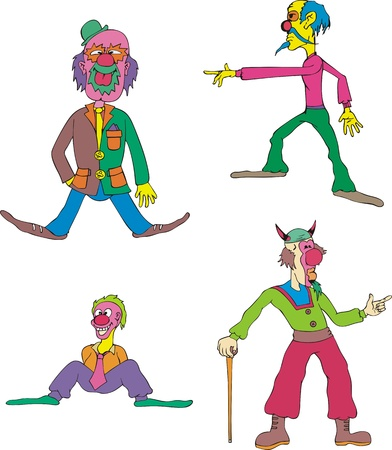 tomfool: Funny Clowns. Set of Color . Illustration