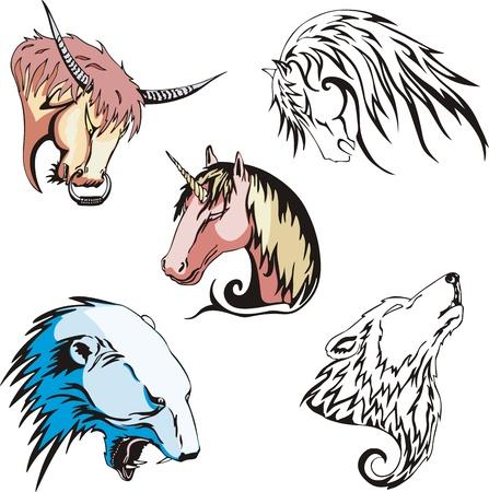 Animal heads - wolf, polar bear, unicorn, horse and bull.
