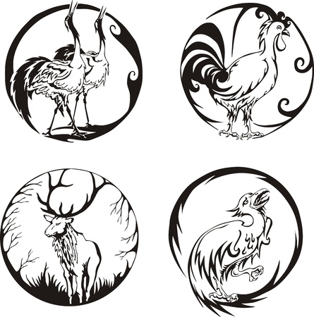 Round designs with birds and animals. Set of color vector illustrations. Stock Vector - 14176192