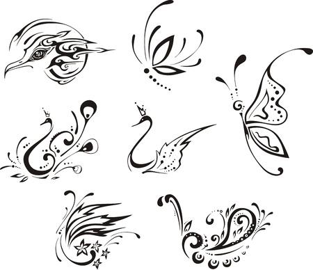 farfalla tatuaggio: Farfalle e uccelli stilizzati.