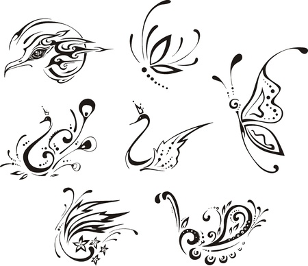 Stylized butterflies and birds.