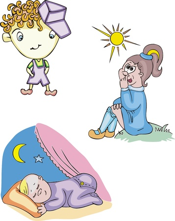 Funny and happy kids. Set of color vector illustrations. Stock Vector - 14176421