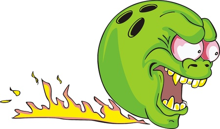 flamed: Green bowling ball with flame. Illustration