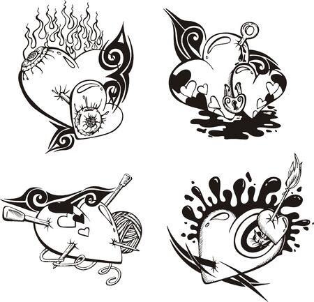 black and white lock: Stylized Tattoos with Hearts. Illustration