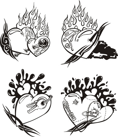 Stylized Tattoos with Hearts. Illustration