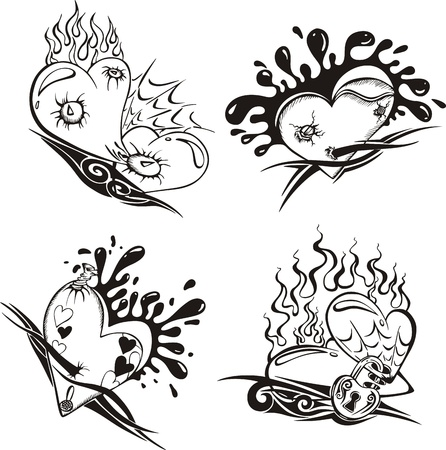 Stylized Tattoos with Hearts. Set of black and white vector illustrations.