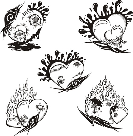 Stylized Tattoos with Hearts. Vector