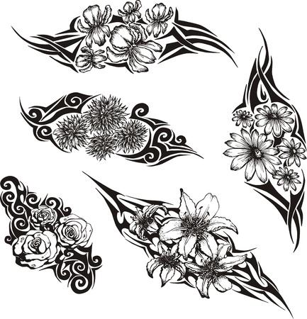 Tribal Flower Tattoos. Stock Vector - 14176771